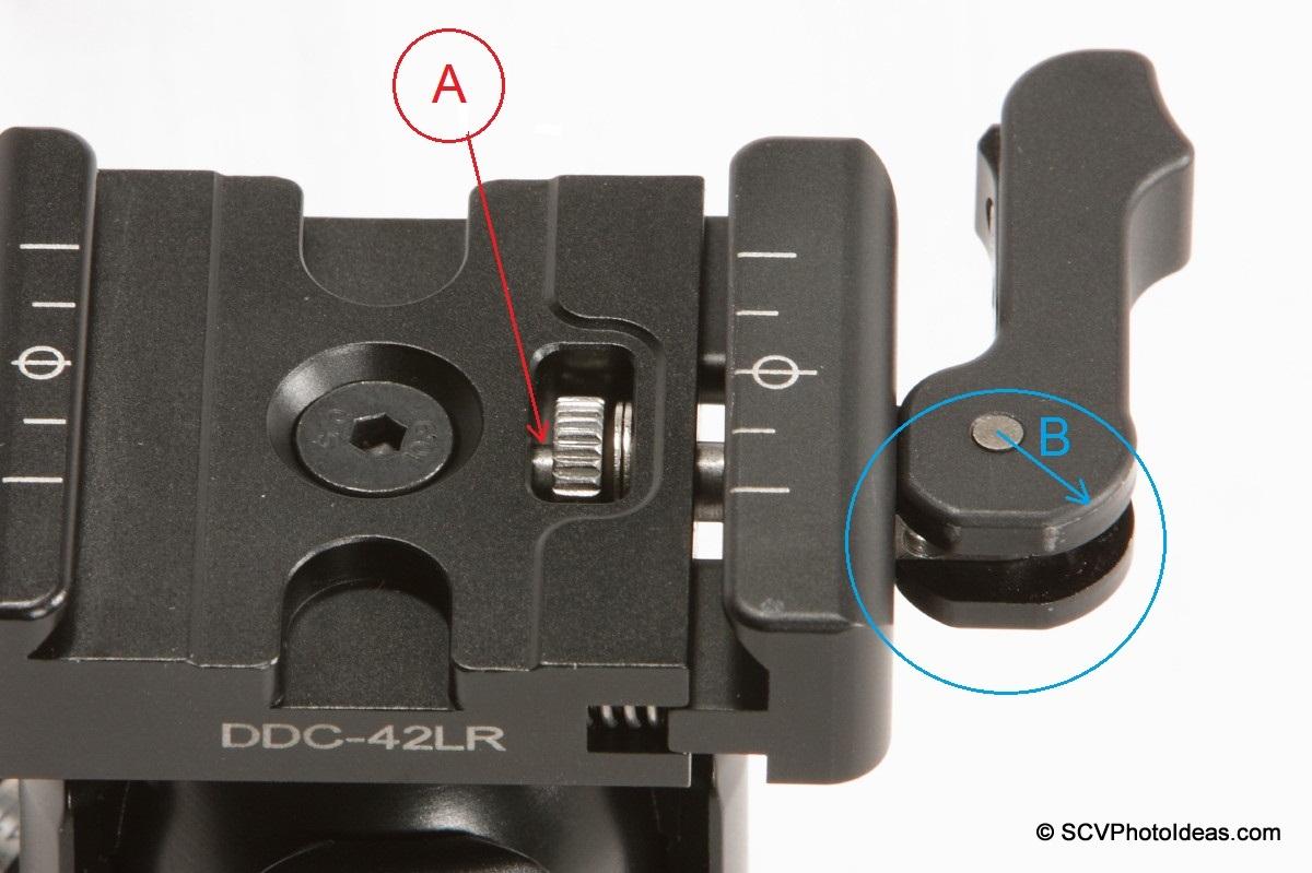 Sunwayfoto DB-36TRLR Lever release QR Clamp thumb wheel