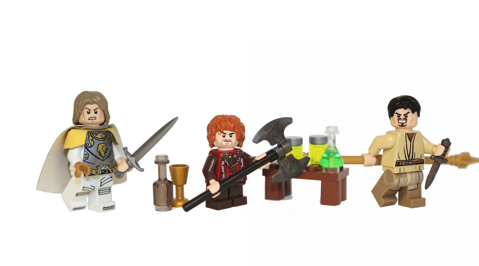 Game of Thrones lego, lego Game of Thrones, Jamie Lannister, Tyrion Lannister, Orberyn Martell, Lego custom mini figures, custom lego, demonhunter bricks