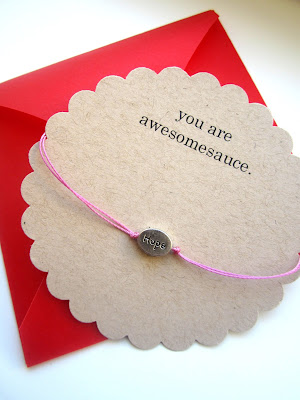 valentine card with bracelet