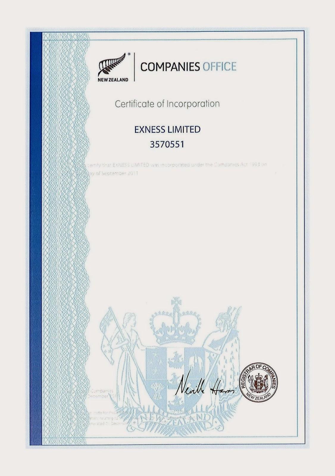 sijil syarikat exness