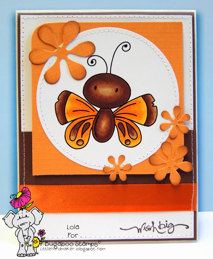 Little Card Maker: Chubby Butterfly Wishes With Bugaboo Stamps