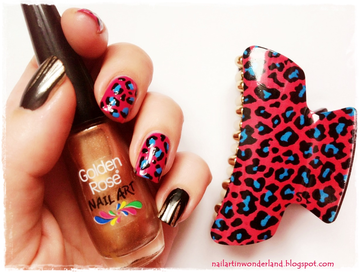 Pink Leopard Nail Art with Golden Rose Nail Polishes