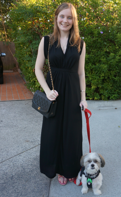 Away From blue work christmas party black french connection maxi dress chanel flap