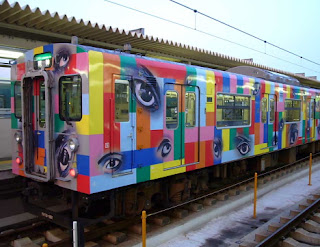 Japanese train decorated with eyes