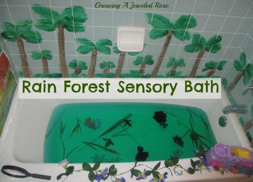 Rain forest sensory bath growing a jeweled rose for Forest bathroom ideas