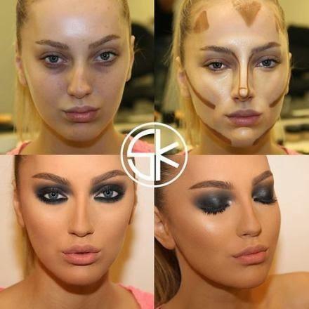 femme avant et après le maquillage