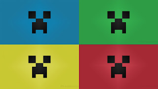 Primary color Minecraft creeper desktop wallpaper 1920 x 1080 pixels