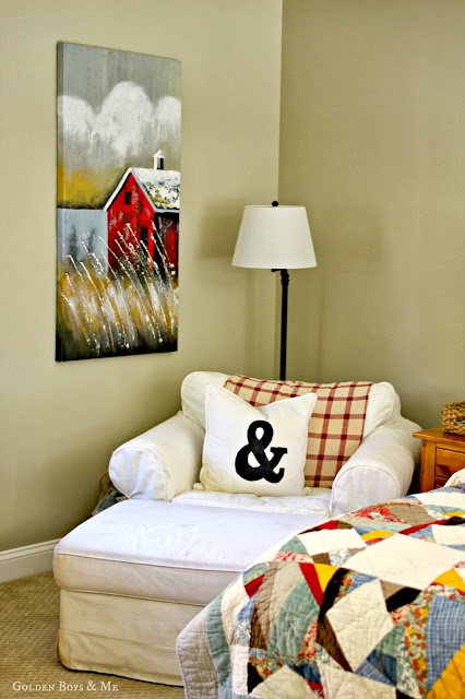 Barn painting in master bedroom via www.goldenboysandme.com