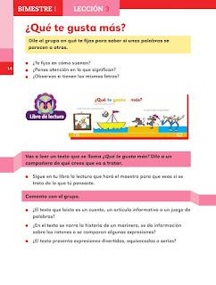 Apoyo Primaria Español 2do grado Bloque 1 lección 3 ¿Qué te gusta más?