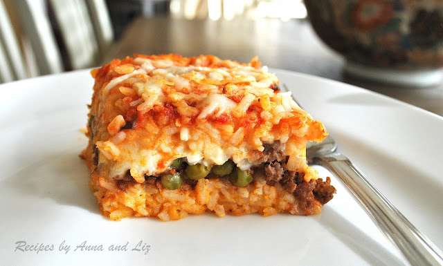 ... by Anna and Liz: Best Rice Ball Casserole Stuffed with Meat and Peas