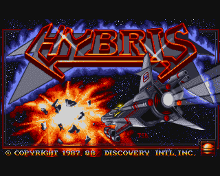 The nifty title screen to Hyrbis on the Amiga