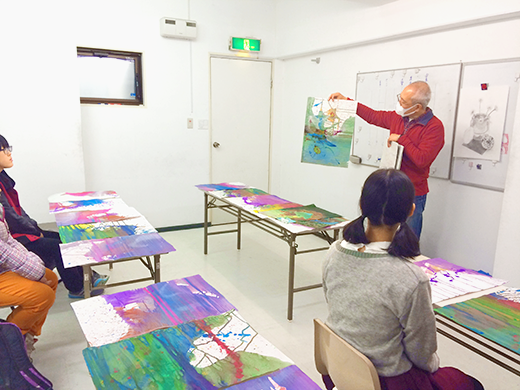 横浜美術学院の中学生教室 美術クラブ 絵の具課題「絵の具のシミから描写しよう!」5