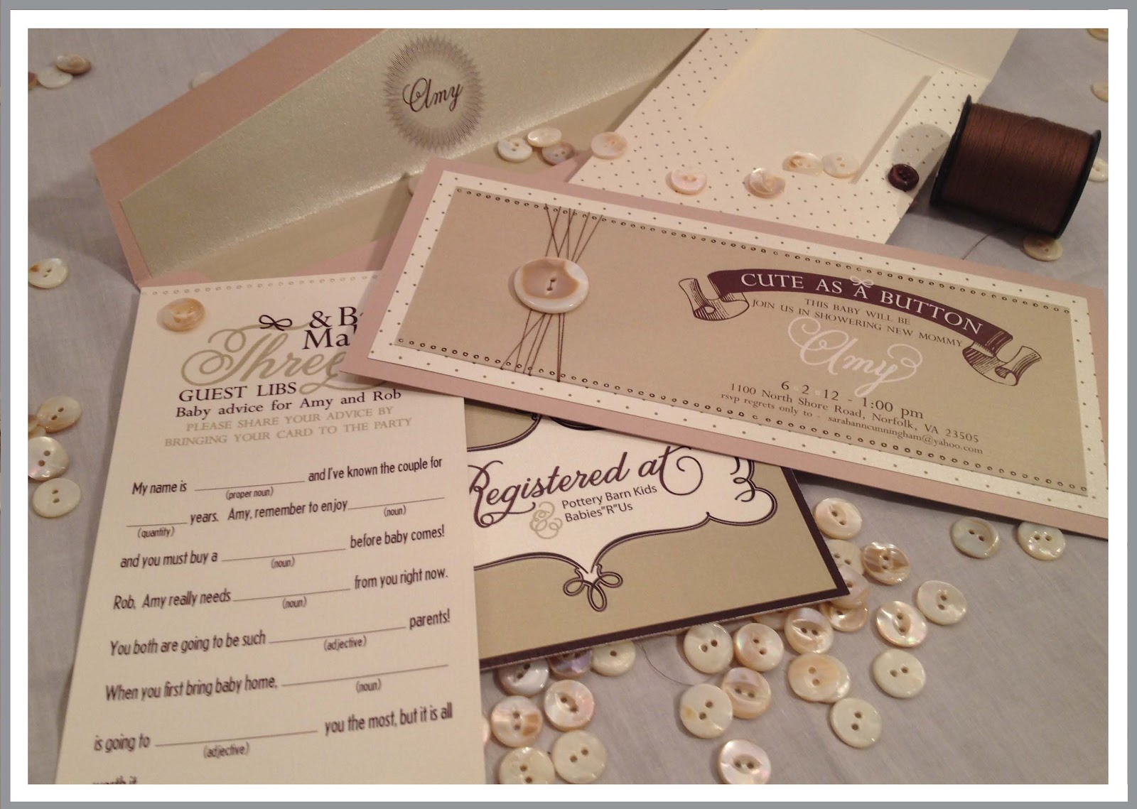 Cute As A Button - Baby Shower Theme | Izzy Designs, LLC
