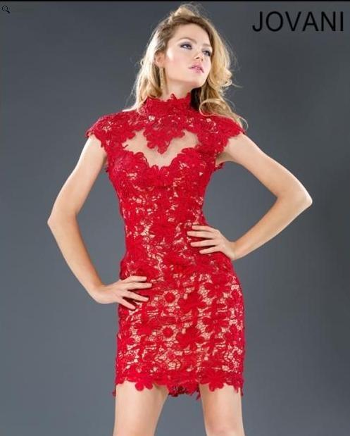 Red Lace Prom Dress Jovani