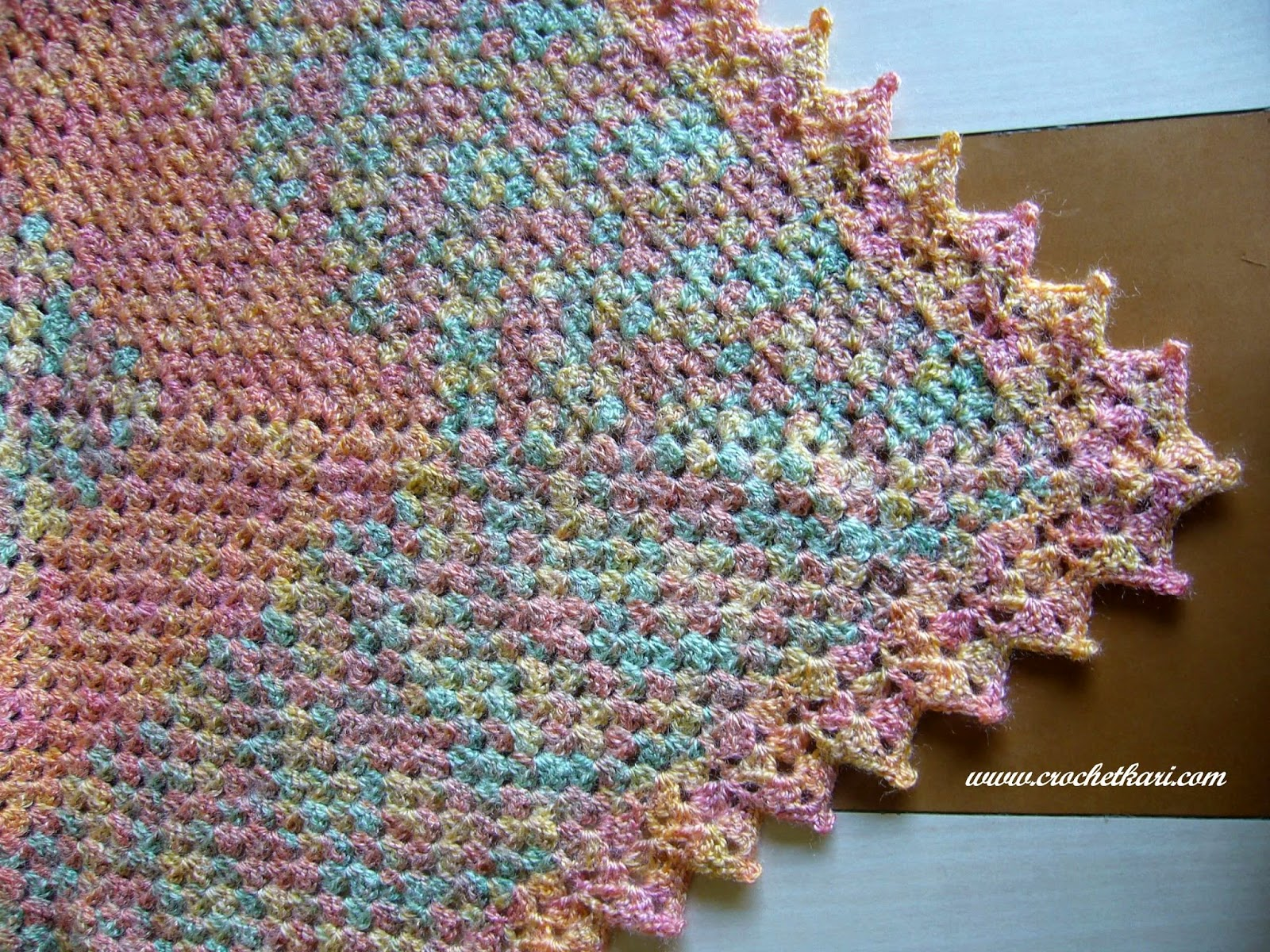 i love rainbows crochet granny shawl