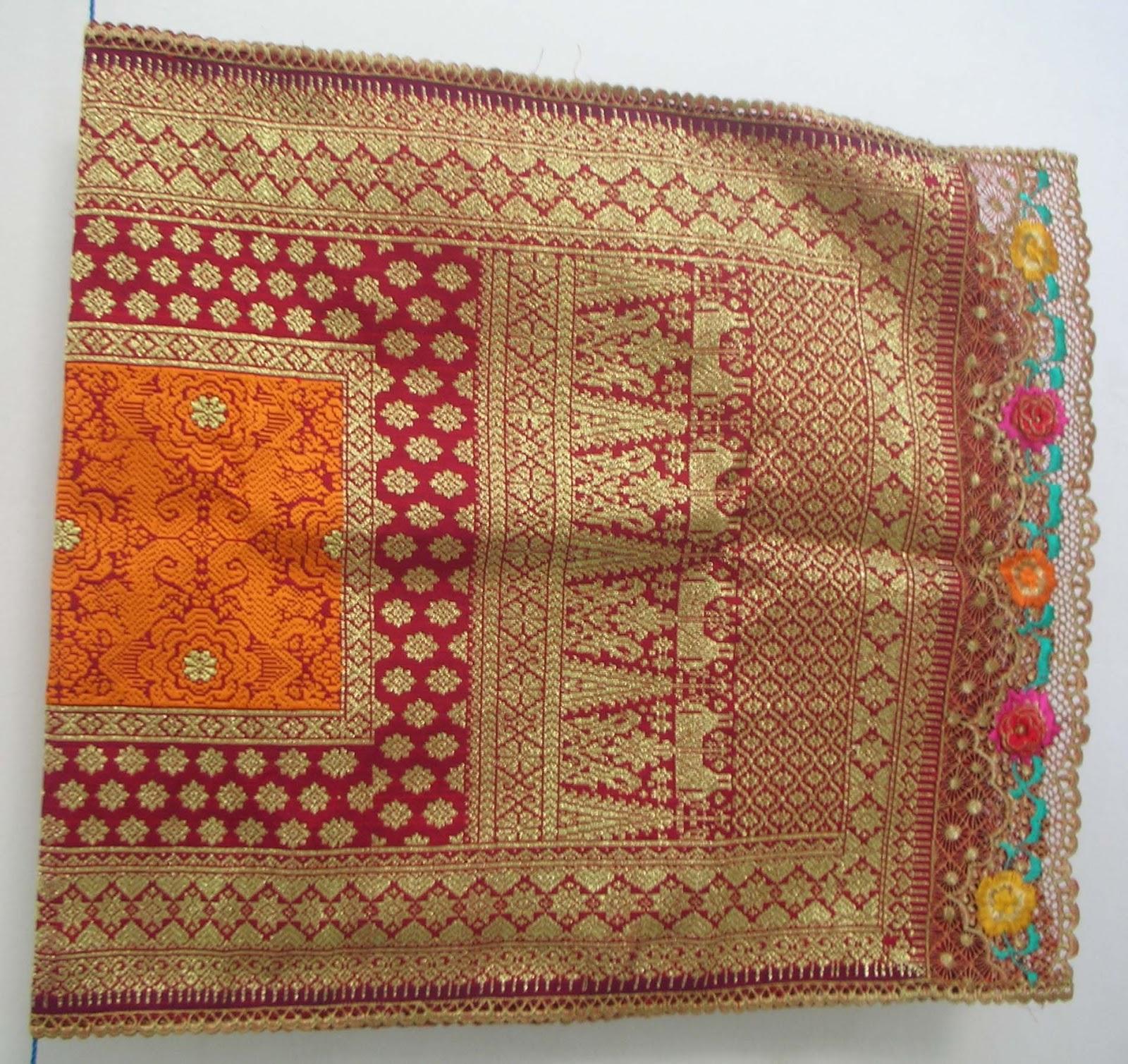 Jual Sogket Palembang motif Bunga Cina Orange Merah (TERJUAL)