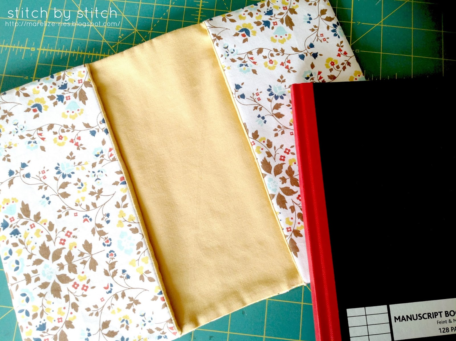 Book Cover Material : Stitch by fabric book cover tutorial