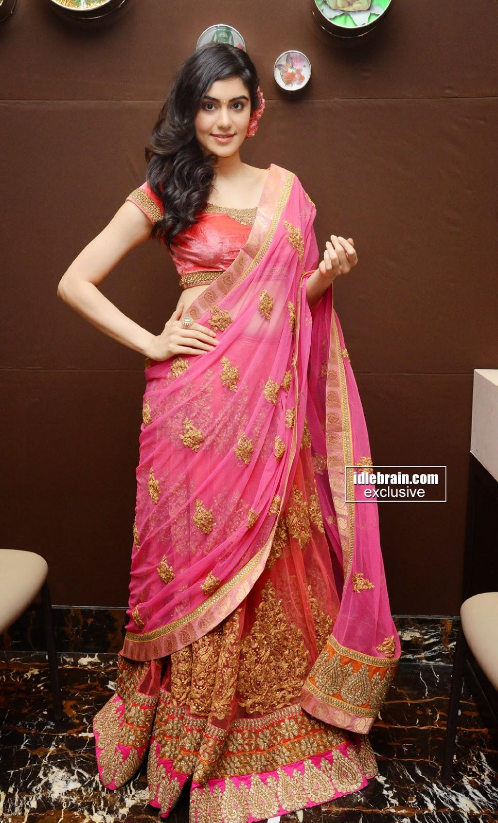 Adah Sharma pink half saree