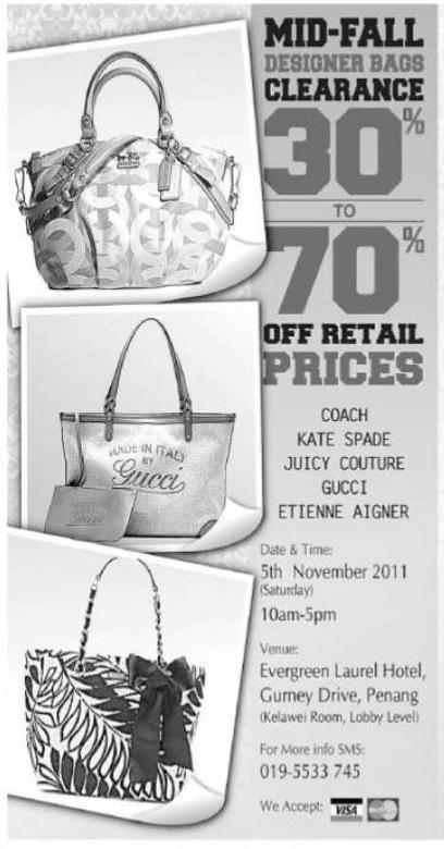 designer bag clearance 6v7k  Coach, Kate Spade, Juicy Conture, Gucci & Etienne Aigner