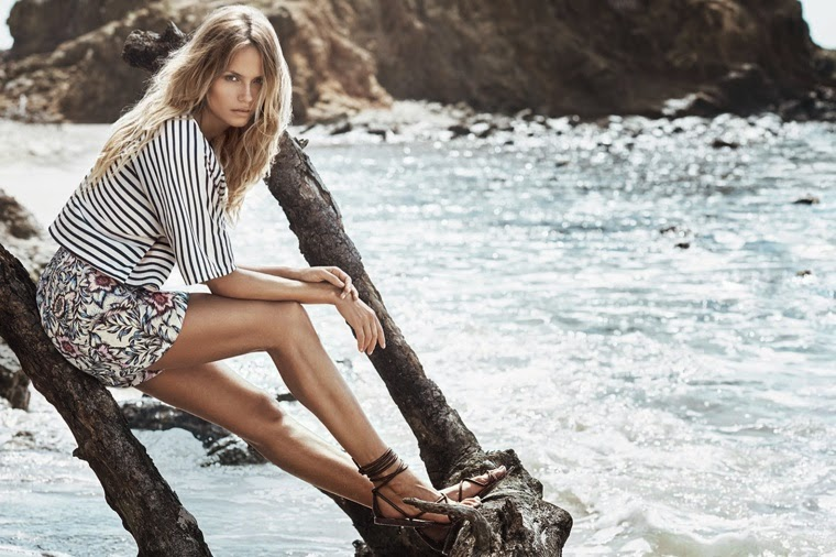 Natasha Poly hits the beach for the H&M Summer 2015 Trend Update