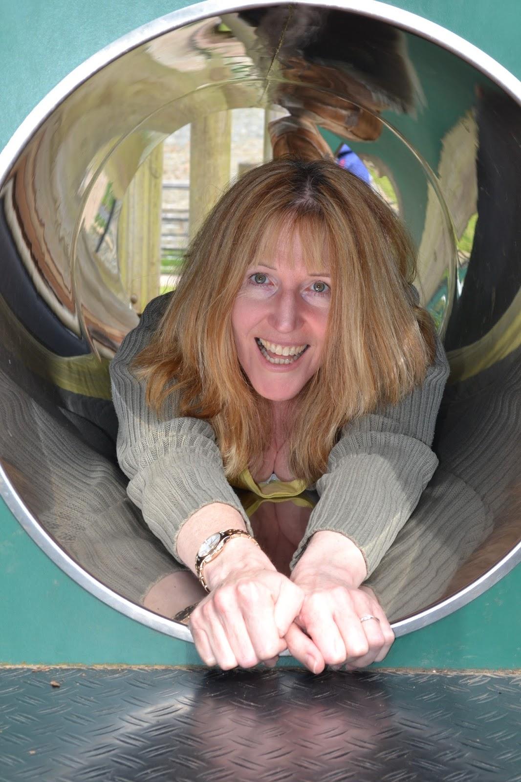 Linda Hobbis at playground in National Trust Dyffryn Gardens