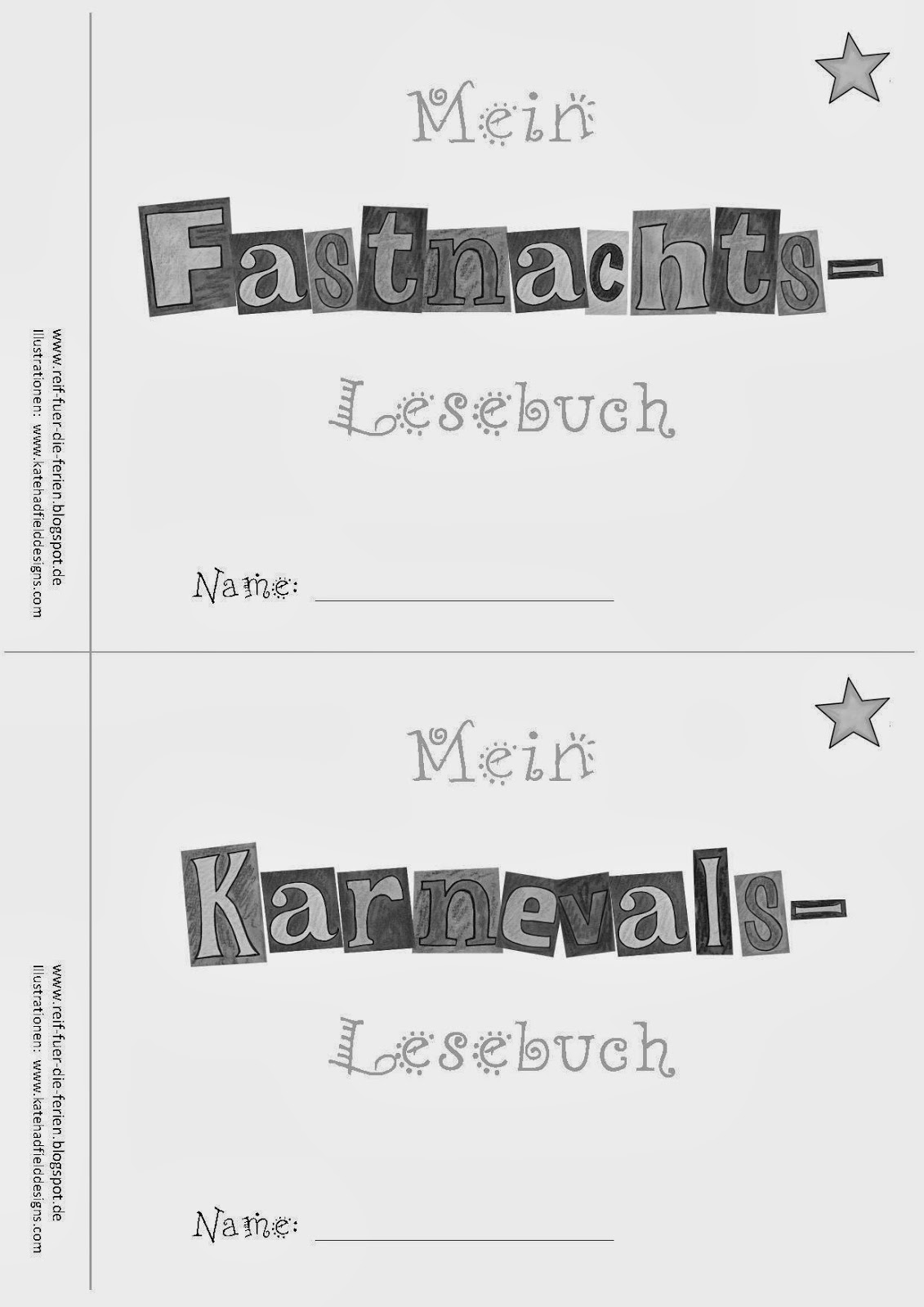 Faschings - Lesemini - Deckblätter