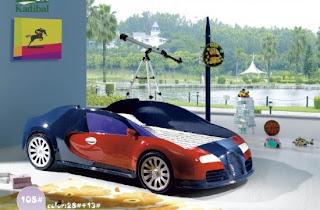 %C4%B0ki renkli arabal%C4%B1 yatak 550x361 Arabalı yatak modelleri
