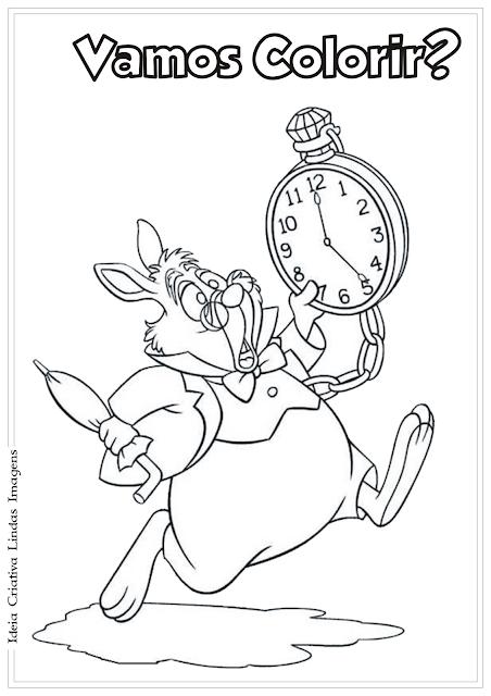 Alice no país das maravilhas Coelho Branco desenho para colorir