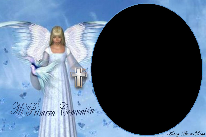 un ángel y una paloma para la Primera Comunión. Buenas noches amigos
