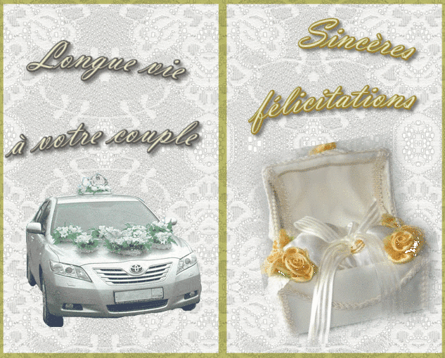 Mariage carte de felicitations