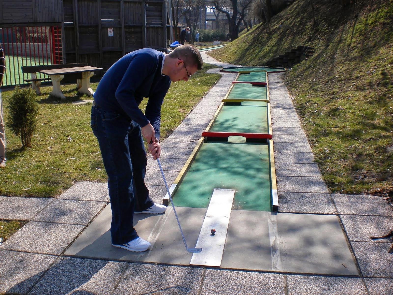 Playing the Swedish Felt Minigolf course at the Askoe Wien Wasserpark in Vienna, Austria