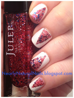 v-gaps nail art, v gap, Lazy Days of Summer Nail Challenge: Flag Day - 4th of July nails, red white and blue nails, glitter polish, Julep America the Beauty, Julep Kate, metallic white nail polish, v gaps, v-gap mani, natural nail polish, Zoya armor, Independence day manicure