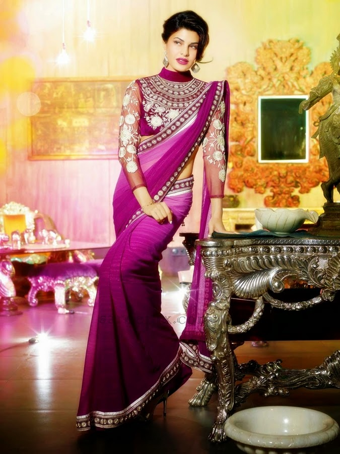 wine-faux-georgette-saree