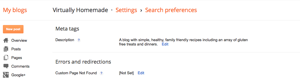 How to use search preferences in blogger for search engines.