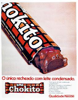 propaganda chocolate Chokito da Nestle - 1974.  os anos 70; propaganda na década de 70; Brazil in the 70s, história anos 70; Oswaldo Hernandez;