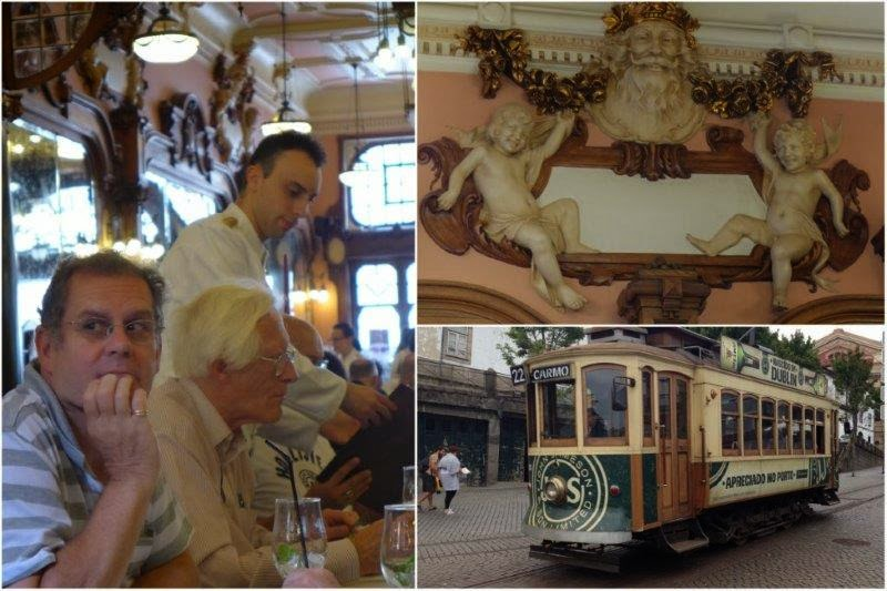 Café Majestic y tranvía 22 en Oporto, Portugal