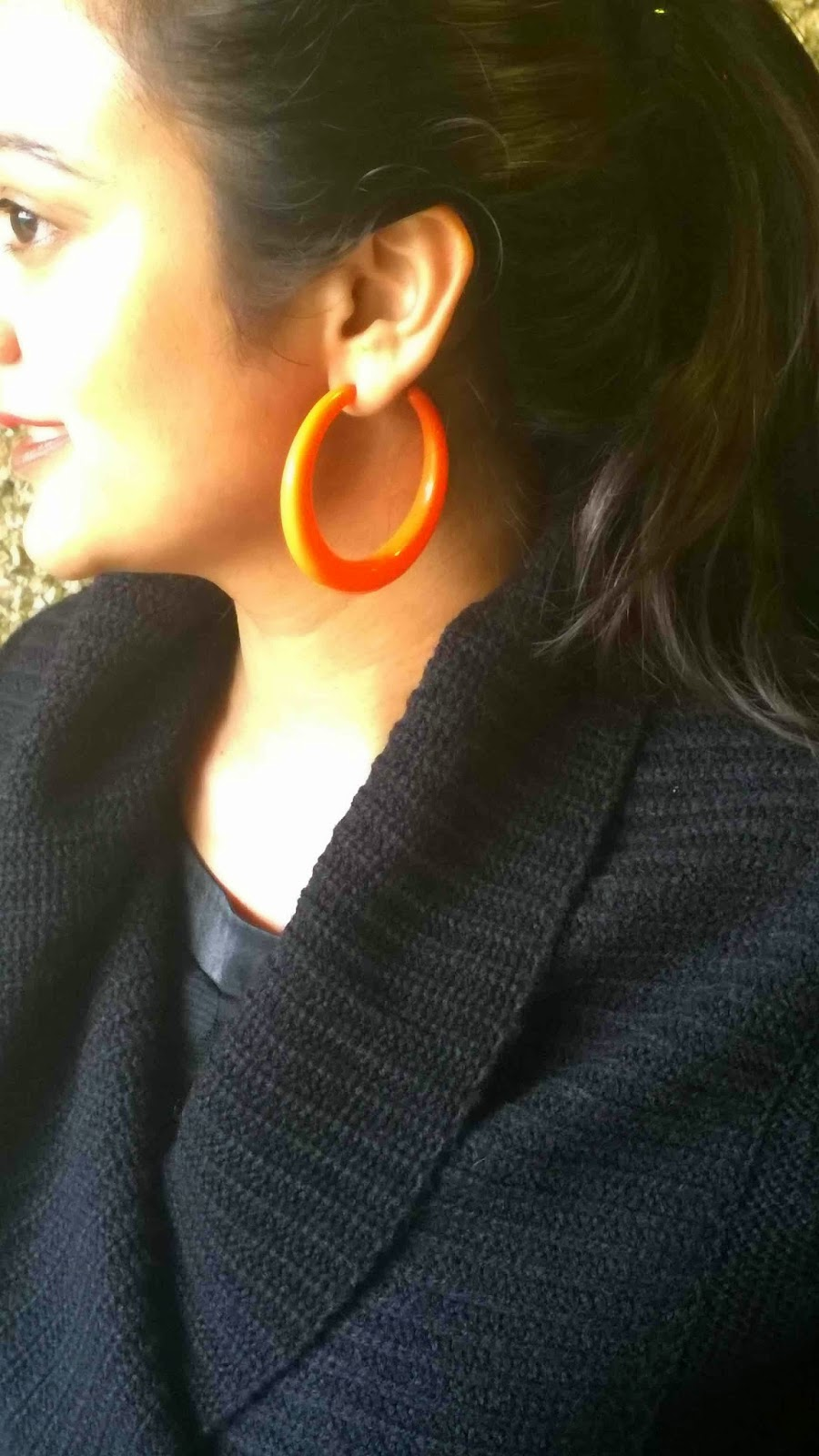orange is the new black, black sweater on black dress with orange bag, orange hoop earrings, indian fashion blogger, ananya kiran, ananya tales