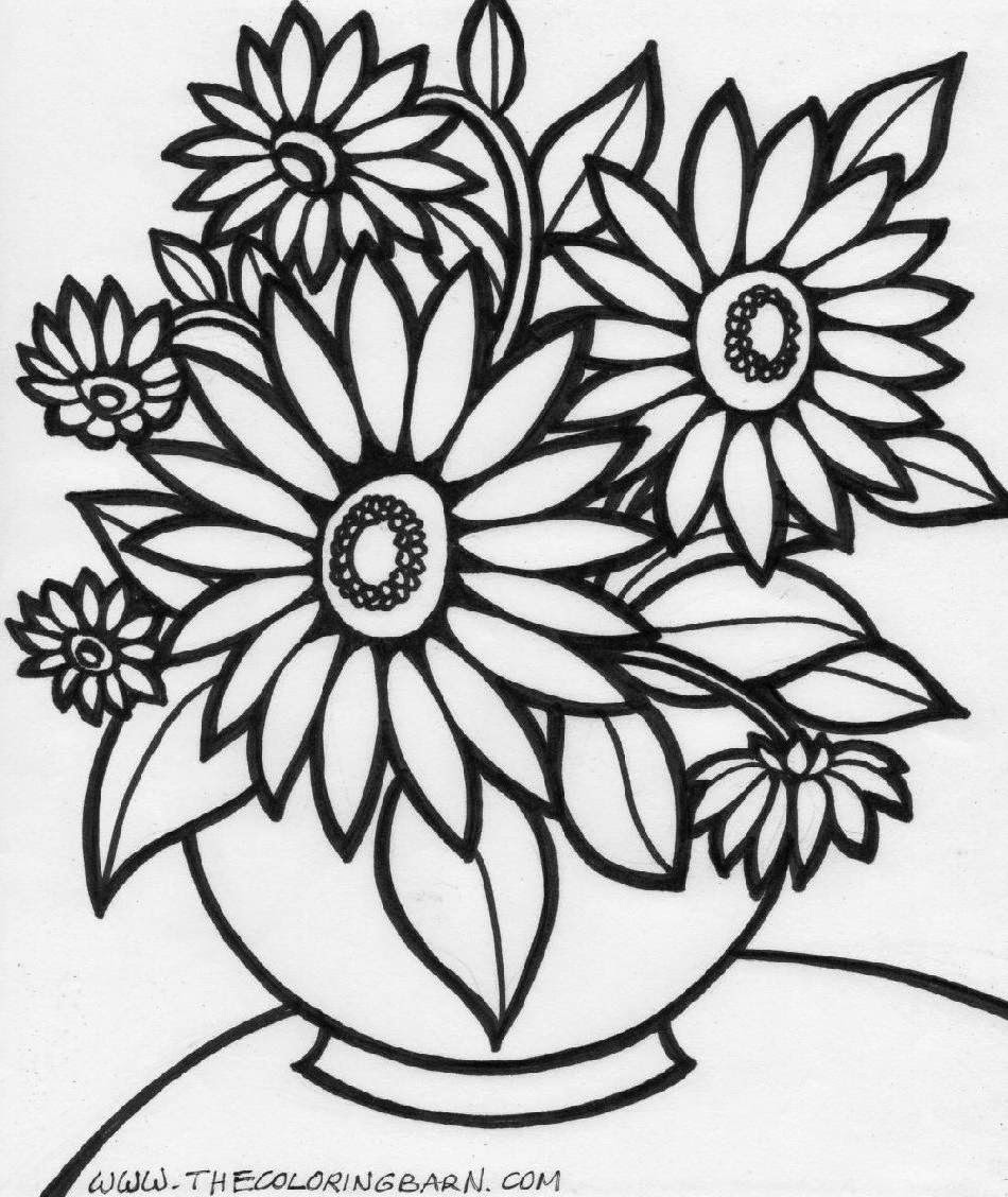 Coloring pages of flower pots - Coloring Book Pages Flowers Eassume