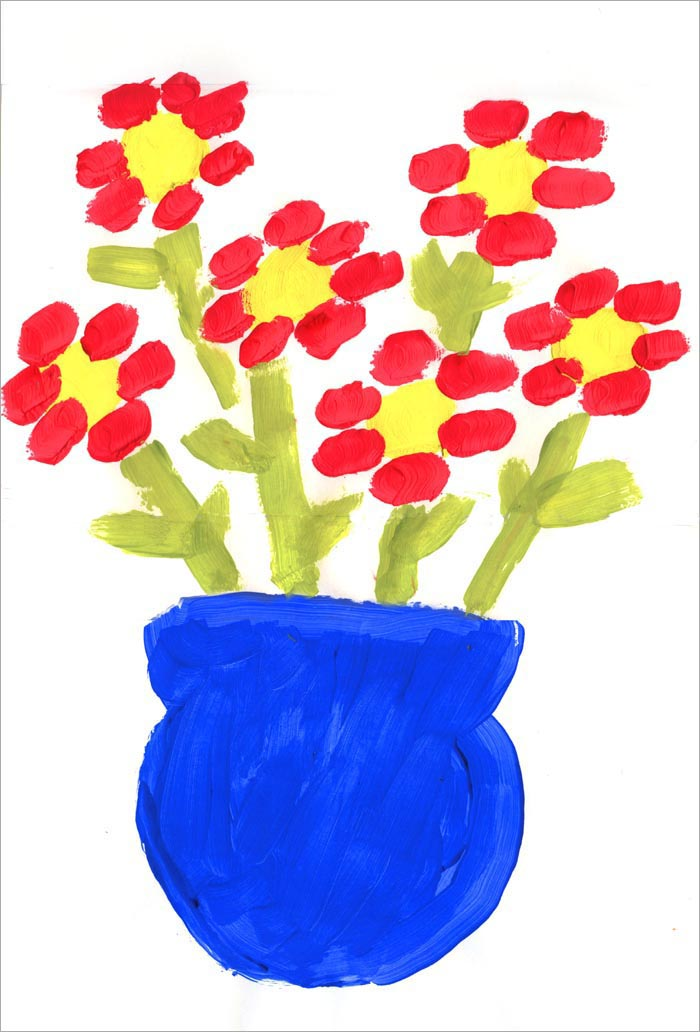 First Flower Painting - Art Projects for Kids