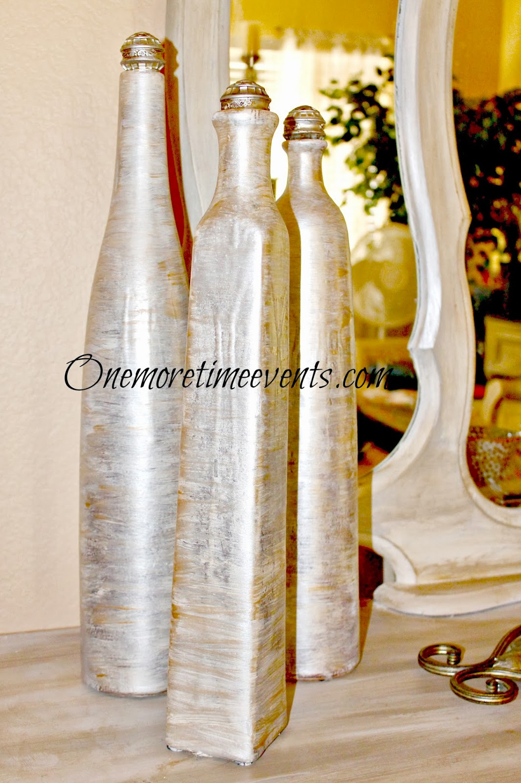 Faux Ivory Vases with knobs at One More Time Events.com #knobs,#metallicpaint