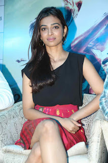 Radhika Apte in a lovely red mini Skirt and Black Tank Top at Manjhi movie promotion hyderabad