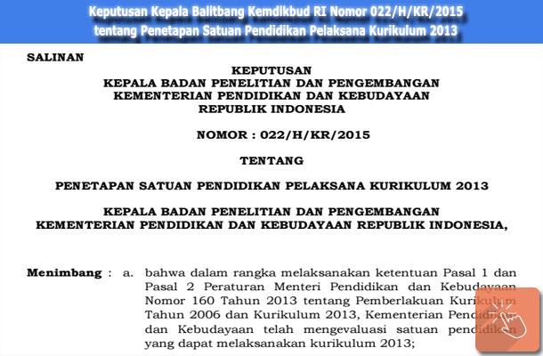 Keputusan Kepala Balitbang Kemdikbud RI Nomor 022/H/KR/2015 tentang Penetapan Satuan Pendidikan Pelaksana Kurikulum 2013