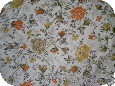 Vintage Sheet with Roses - Brown, Yellow, Orange