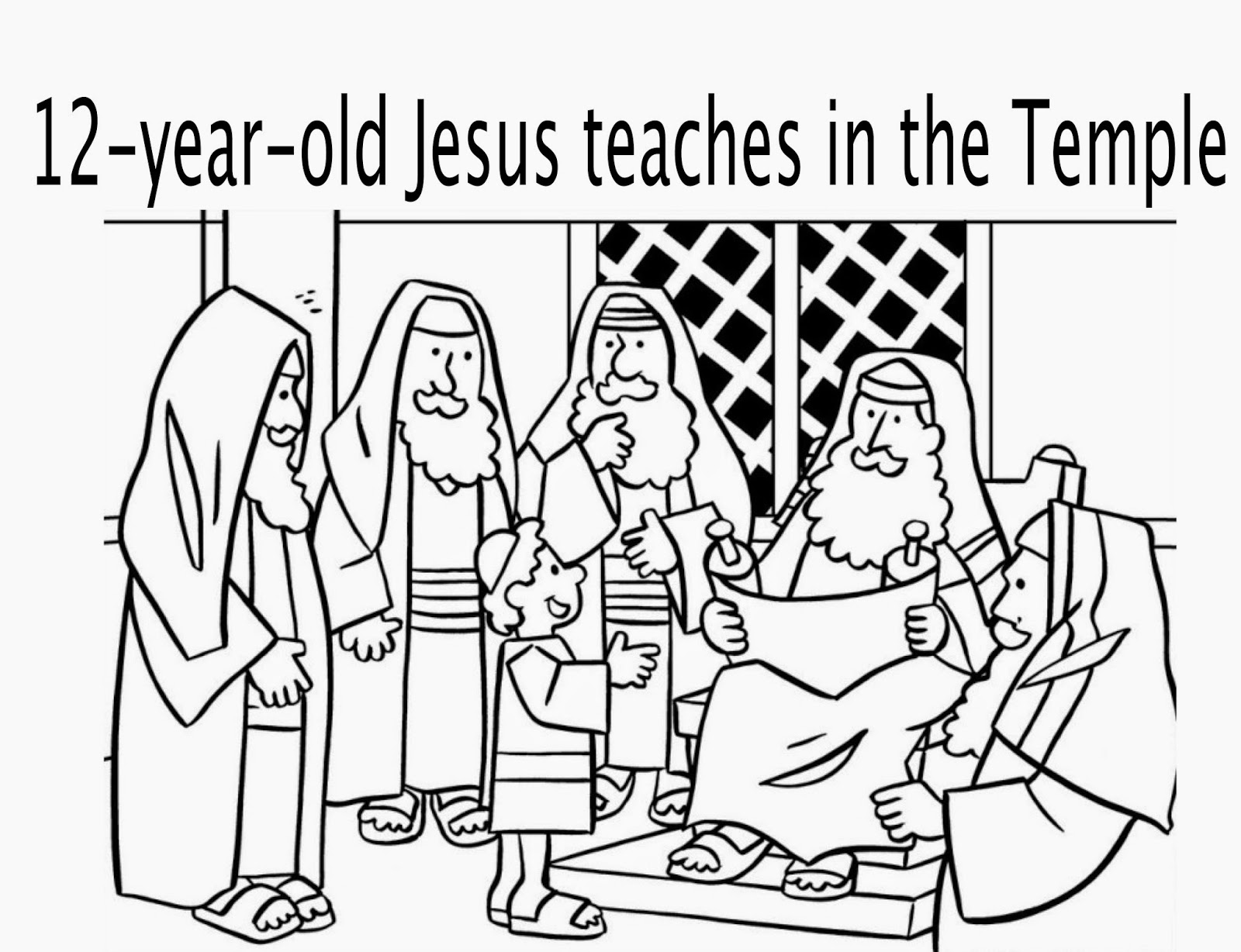 Jesus  Years Old Temple Coloring Page