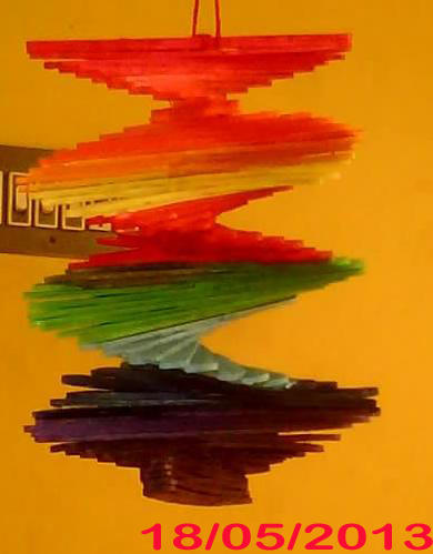 Malini 39 s creationz ice cream stick spiral wall hanging for Best out of waste ideas from ice cream stick