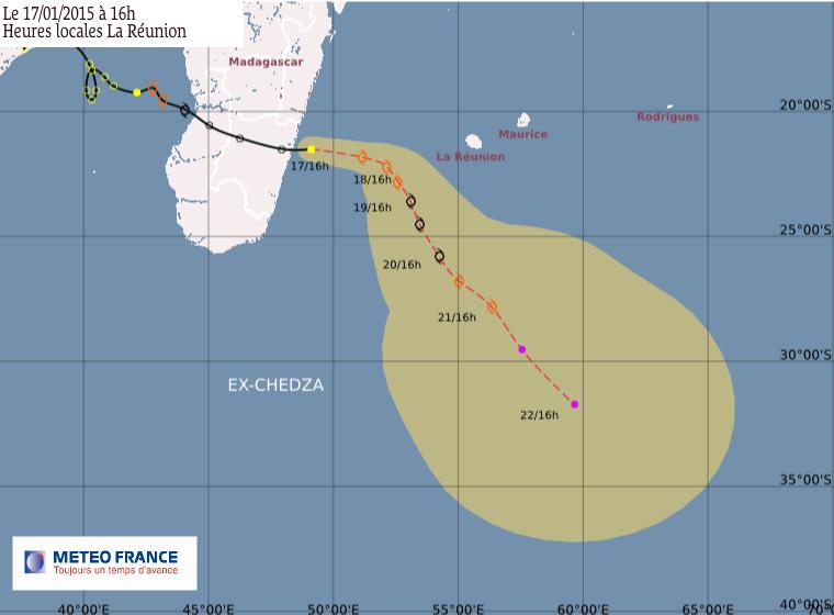 Dépression tropicale Chedza à 635 km de La Réunion - Trajectoire
