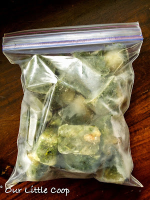 frozen basil in ziplock bag