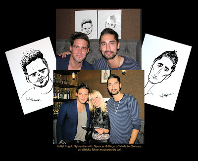 Caricaturist Ingrid Sylvestre with Spencer Matthews & Hugo Taylor of 'Made in Chelsea' with their caricatures