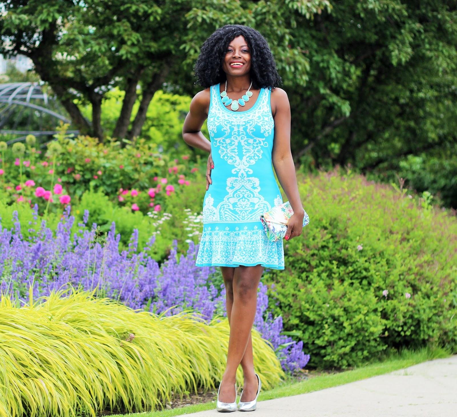 Turquoise Damask Print Dress x Leona Bib Necklace