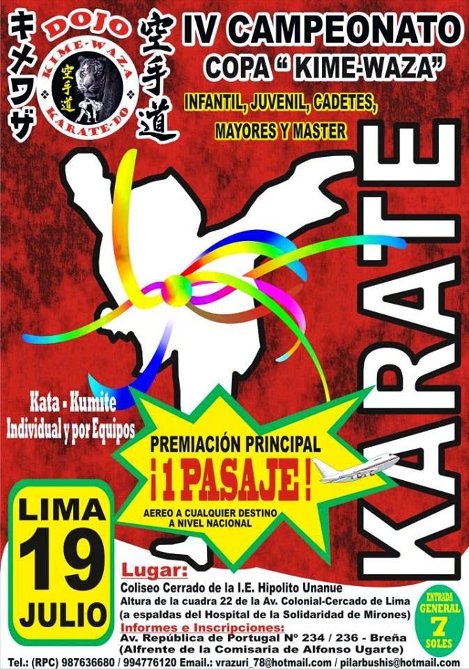 "IV CAMPEONATO DE KARATE  ""Copa Kime Waza""   Lima-Perù"
